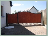 Wood Gate with Metal Decorative Panels